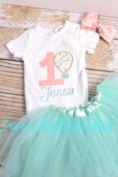 Girls 1st Birthday Hot Air Balloon Outfit - Up Up and away 1st Birthday Shirt - Girl's 1st 2nd 3rd 4th 5th birthday shirt - mint green tutu! by SweetAndStitched on Etsy https://www.etsy.com/listing/270319497/girls-1st-birthday-hot-air-balloon