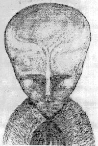 Aleister Crowley drawing of angel / demon conjured during ceremonial magicke - similar to Whitley Strieber Alien Gray the Greys aliens demonic nephilim