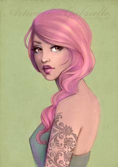 Pink Lady and Tatoo / Ragazza in rosa e Tatuaggio - Artwork by Gabrielle (by gabbyd70 on deviantART)