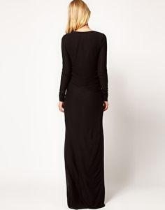 Robe noire en jersey manches longues