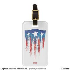 Captain America Retro Shield Paint Brush Strokes Bag Tag. Cool Marvel merchandise to personalize. #marvel #avengers #birthday #birthdayparty #birthdaycard #personalize #kids #shopping
