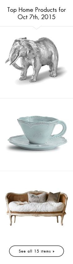 """Top Home Products for Oct 7th, 2015"" by polyvore ❤ liked on Polyvore featuring home, kitchen & dining, drinkware, blue, tea cup and saucer, tea cup & saucer, arte italica, furniture, sofas and white furniture"