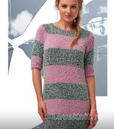 Свободное полосатое платье схема спицами » Люблю Вязать