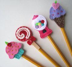 PICK 1 Pencil Topper Ice Cream Cupcake Lolliopop by BabyWhatKnots - Amazing Diy Crafts Felt Crafts, Fabric Crafts, Diy And Crafts, Crafts For Kids, Arts And Crafts, Pen Toppers, Classroom Treats, Felt Applique, Felt Toys