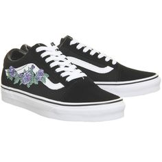 Vans Old Skool Trainers Black Lilac Rose (£65) ❤ liked on Polyvore featuring shoes, sneakers, vans footwear, vans sneakers, black shoes, kohl shoes and lilac shoes