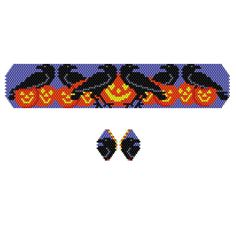 Halloween Murder of Crows Beaded Bracelet & Earrings Pattern at Bead-Patterns.com