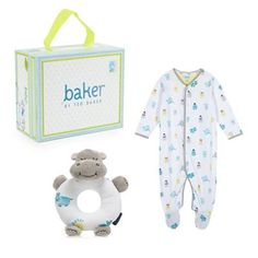 Baker by Ted Baker Babies white hippo cotton sleepsuit and rattle gift box- | Debenhams