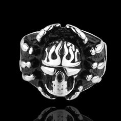 Cool Men Punk Gothic Style Flame Skull 316L Stainless Steel Ring Sz 7-9 Cr12