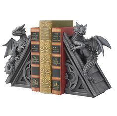 WANT!!!   Gothic Castle Dragons Sculptural Bookends