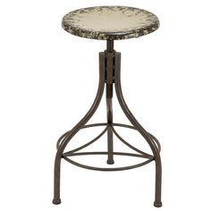 Adjustable metal barstool with a distressed cream finish.       Product: Bar stool  Construction Material: Metal