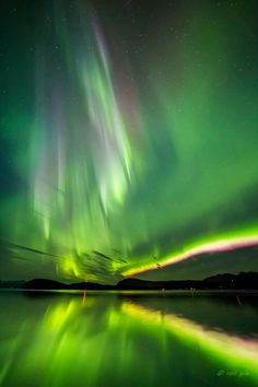 """Aurora Storm 9-4-2015 Juneau, AK, USA photographer Ron Gile who said it was so bright """"we could see our shadows."""""""