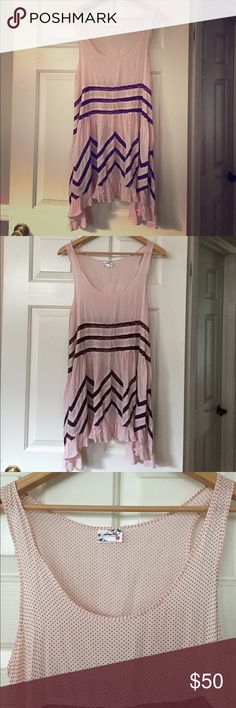 Free People Pink Voile Lace Trapeze Dress Small Gently Preloved, Hole in Lace as seen in picture in back Free People Dresses