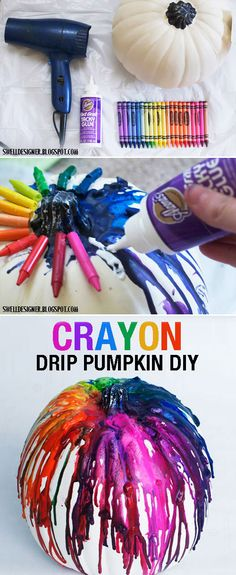 "Oooh this would be great for a ""blood"" or ""lime green"" oozing, type of pumpkin! 37 Pumpkin no-carve decoration ideas. Tacky glue crayons on white pumpkin. Blow dry on high until they melt. Have on dropcloth or newspaper, wax can splatter. Cute Crafts, Crafts To Do, Fall Crafts, Holiday Crafts, Holiday Fun, Crafts For Kids, Diy Crafts, Holidays Halloween, Halloween Crafts"