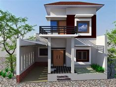 One of the design houses that are currently popular is a minimalist house design. Minimalist house a variety of models . House Balcony Design, House With Balcony, Design Exterior, Roof Design, Terraced House, Dream Home Design, Modern House Design, Style At Home, Two Storey House Plans