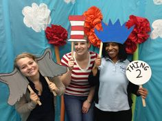Dr. Seuss Party How To-Photo Booth backdrop and props: Cat in the Hat, Thing hair, Horton ears, Lorax Mustache, truffala trees