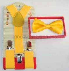 YELLOW Tuxedo Bow Tie And Supenders Set For Kids Youth - PreTied Bow Tie With Adjustable Children Suspenders Kids World Of Toys,http://www.amazon.com/dp/B00ID3XTNQ/ref=cm_sw_r_pi_dp_BfU-sb1GG9CWRBVF