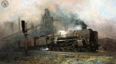 Wildlife and railway artist David Shepherd. A Britsh contemporary oil painter who has received worldwide acclaimation for his African wildlife and steam locomotive paintings. Trains, Old Steam Train, Train Truck, Steam Railway, Train Art, Train Engines, Traditional Paintings, Steam Locomotive, Art Pictures