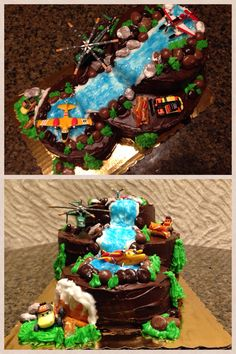 Disney Planes Fire and Rescue cake. This is for my little mans 4th birthday. Mini figures were purchased at the Disney shop in JC Penney, everything else was purchased at Target. I usually make things completely from scratch but I needed easy this time. Duncan Hines Wilton boxed cake, canned chocolate frosting and colored decorator frosting in squeeze packs. Rocks/boulders are junior mints, milk duds and whoppers. Trees/logs are pretzels. And flames are fruit roll ups.
