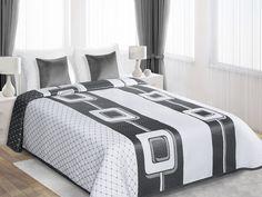 Narzuty dwustronne na łóżko białe ze stalowymi figurami