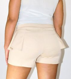 Taupe Popular Basics Side Ruffle Shorts - New