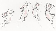 Anita Jeram four bunnies. Rabbit Drawing, Rabbit Art, Cute Animal Drawings, Cute Drawings, Cute Owl Drawing, Cartoon Drawings Of Animals, Anita Jeram, Bunny Painting, Bad Bunny