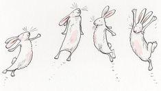 Anita Jeram four bunnies. Rabbit Drawing, Rabbit Art, Cute Animal Drawings, Cute Drawings, Cartoon Drawings Of Animals, Anita Jeram, Bunny Painting, Bad Bunny, Children's Book Illustration