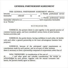 Printable Sample Partnership Agreement Sample Form