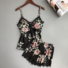 Satin Sleepwear, Sleepwear Sets, Satin Pajamas, Sleepwear Women, Pyjamas, Flirty Pajamas, Sexy Pajamas, Summer Pajamas, Black Pajamas