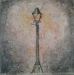 Lamppost from Narnia sketch on 6x6 ceramic by ScribbleSketches, $12.00