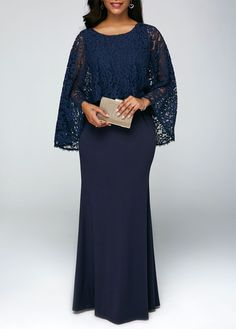 Round Neck Lace Overlay Navy Chiffon Maxi Dress - Trend Way Dress Cheap Maxi Dresses, Casual Dresses, Bride Dresses, Dresses Dresses, Trendy Dresses, Dresses Online, African Dresses For Women, African Fashion Dresses, Chiffon Maxi Dress