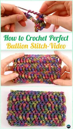 crochet stitches design How to Crochet Perfect Bullion Stitch Instruction [Video] - Crochet Bullion Stitch Free Patterns -How to Crochet Perfect Bullion Stitch Instruction. This just looks super time consuming, and I KNOW I would spend most of that t Freeform Crochet, Tunisian Crochet, Crochet Motif, Crochet Yarn, Easy Crochet, Free Crochet, Crochet Mandala, Crochet Afghans, Crochet Blankets
