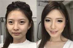 Before-after Ms. Yuyu   #pretty #makeup #mua