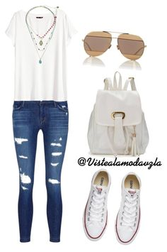 """""""White"""" by zulakais on Polyvore featuring moda, J Brand, H&M, Betsey Johnson, Christian Dior y Converse"""