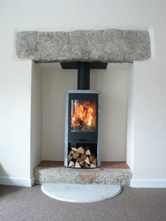 Kernow Fires Contura 850 with soapstone wood burning stove installation in Cornw…, – Freestanding fireplace wood burning Granite Hearth, Granite Fireplace, Wood Burning Logs, Stove Installation, Freestanding Fireplace, Electric Stove, Log Burner, Soapstone Stove, Indoor