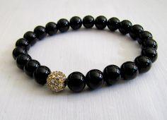 Swarovski negro pulsera de perlas perlas pulsera elástica perla y diamantes de imitación pulsera joyería negro Formal ocasión especial joyería