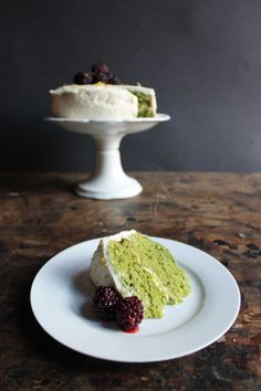 Stinging Nettle and Lemon Cake with Lemon Icing and Blackberries