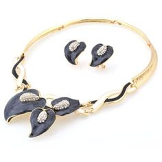Leaf Fashion Jewelry Sets, Two Color: Peacock Blue and Black