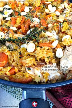 Another delicious one-pot meal --Apricot Chicken Orzo with Marcona Almonds at ReluctantEntertainer.com