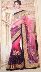 #Pink and purple colour soft net material designer #sari #saree.
