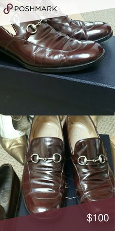 Gucci 39.5 wide horsebit loafer princetown flat GUCCI MADE IN ITALY 39.5 c  Rare SIZE  Awesome vintage style that is very relevant  similar to princetown loafer  with signature horsebit gucci authentic vintage   39.5 c wide cordovan nice chunky heel gucci Shoes Flats & Loafers