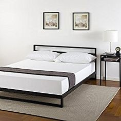 Zinus 7 Inch Platforma Bed Frame with Headboard / Mattress Foundation / Boxspring Optional / Wood Slat Support, Queen