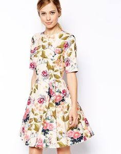 ASOS Textured Skater Dress in Summer Floral and Bird Print
