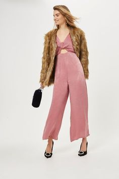 b9d32022f Pink satin knot front plunge cut out middle satin jumpsuit. Topshop  Trousers