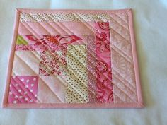 Quilted Pink Mug Rug by Clothstitched on Etsy