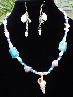 SeaShell Unisex quartz teal mother of pearl pearls by ElmsRealm, $20.00