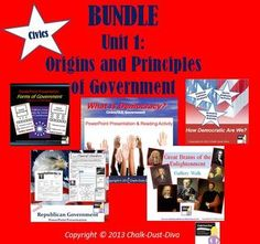"""If you purchase in """"bundle"""" you save 20% of each product! This is everything you will need to teach Unit 1 Origins & Principles of Government in your secondary civics/American Government class. $25.00"""