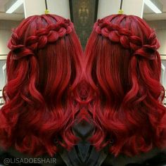 Red hair colors ideal for winter Crimson red, copper, wine - rote Frisuren Braided Crown Hairstyles, Pretty Hairstyles, Wedding Hairstyles, Short Hairstyles, Hairstyle Braid, Homecoming Hairstyles, Braided Hair, Cherry Red Hair, Red Hair Don't Care