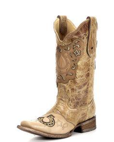 Women's Antique Saddle Crystal Horse Boot - C1153