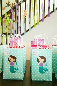 The Little Mermaid inspired goody/treat bags, favor, under the sea goody/treat… 2nd Birthday Party Themes, Mermaid Theme Birthday, Little Mermaid Birthday, Little Mermaid Parties, Birthday Party Favors, 4th Birthday, Birthday Ideas, Pearl Party, Mermaid Invitations