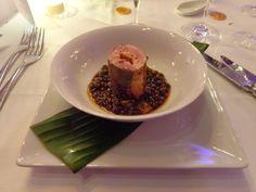 Coated duck breast, stuffed with duck liver, with pea corn ragout @ Restaurant Intermezzo